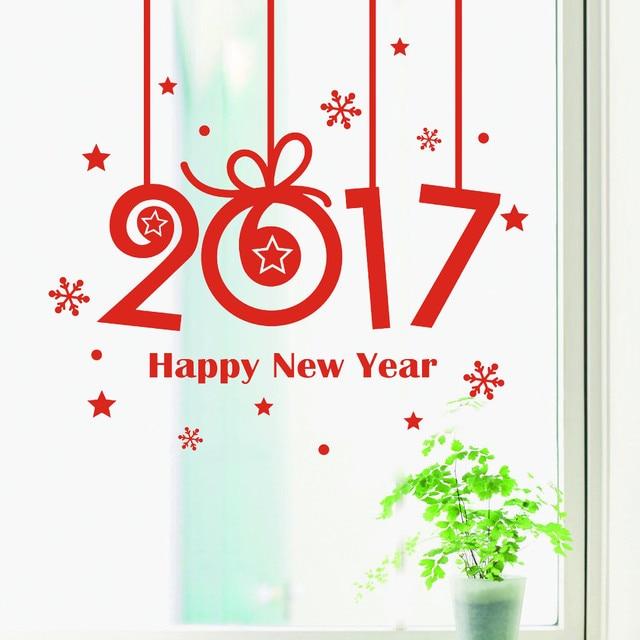 Новый Год 2017 С Рождеством Христовым Дома Стикера Стены Витрины Наклейки Декор U61003
