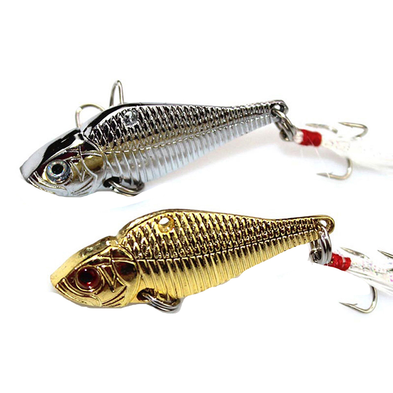 1PCS 5cm 12.5g Metal Spinner Spoon Fishing Lures VIB Hard Jig Baits Crank Wobble Crankbait Fish Lure Feather Treble Hook Tackle noeby insect bait hard lures crankbait treble hook 1 pcs 28mm 2g fishing tackle lure
