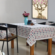 Cotton Linen Tablecloth Star Pattern for Kitchen Table Minimalist Decor Floral Hem Hot Sale