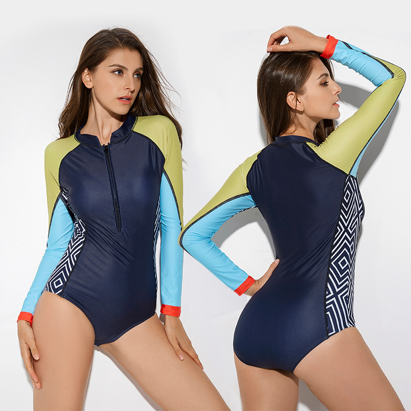 Vikionfly Zipper Long Sleeve Swimwear One Piece Swimsuit Women 2021 Sexy Printed Onepiece Bathing Suit Swimming Suit For Ladies