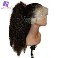 Луффи Курчавые Full Lace натуральные волосы парики предварительно сорвал бесклеевой Non малайзийские волосы 130% плотность с волосами младенца