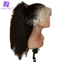 Luffy Kinky Curly Full Lace Human Hair Wigs Pre Plucked Glueless Non remy Malaysian Hair 130%Density With Baby Hair