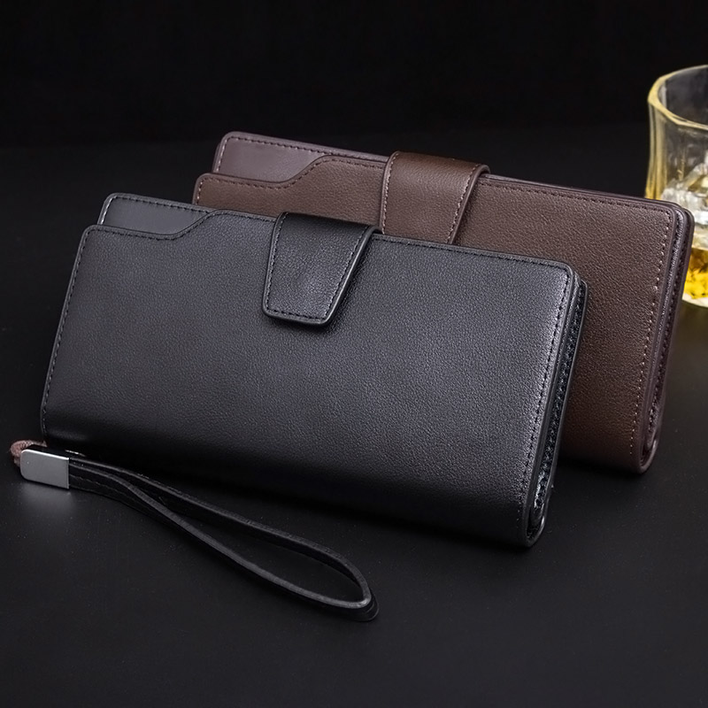 New Fashion Men Wallet Casual Zipper Purse Clutch Bag PU Leather Long Wallets Handbag Purses BS88 2017 men wristlet wallets pu leather zipper pocket long wallet clutch bags man purse business big capacity bag drop shipping