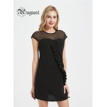 Uguest 2019 Women Summer Ruffle Dress Black Lace Mini Elegant Casual Lady Dresses