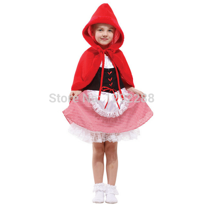 Free shipping,children Halloween cosplay  fashion show clothes cute Little Red Riding Hood dress costume