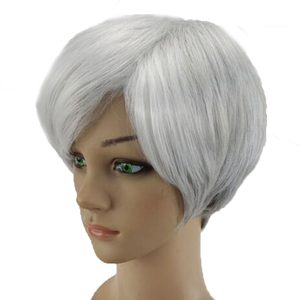Image 3 - HAIRJOY Synthetic Hair Wig  Woman Gray White Short Straight Heat Resistant Wigs