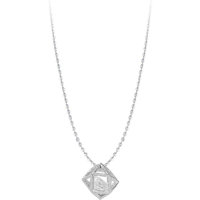 Perak Cube Cubic AAA Zirkon Kalung Gaya Eropa Bola Shape Pendant Rantai Kalung 925 Fashion Perhiasan Untuk Wanita Gadis