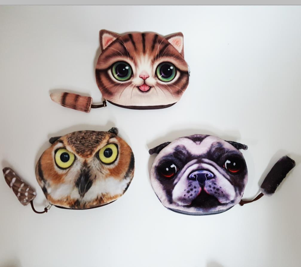 15CM width Cute dog with tail coin purse kids wallet  kawaii bag change coin pouch  key holder artificial fur animal pattern