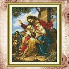 Joy Sunday kits de punto de cruz con cuentas, Jesús, niños, dmc14ct11cttonfabric, fábrica de cuadros deco religioso, venta al por mayor