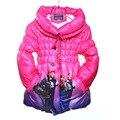 3-10 T 2016 Meninas Crianças Elsa Rainha da Neve Princesa Crianças Inverno Para Baixo Casaco Jaqueta Crianças Roupas Snowsuit Enfant Parka Doudoune