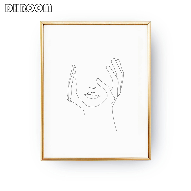 Sketch Wall Art Line Drawing Print Minimalist Simple Fashion Canvas Poster Black White Painting Love Quote Wall Picture Decor