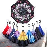 Rüzgar geçirmez Şemsiye Çift Katmanlı Ters Ters Şemsiye Kendini Standı şemsiye yağmur/güneş kadınlar/erkekler yüksek kaliteli 2017 Çocuk dayanıklı