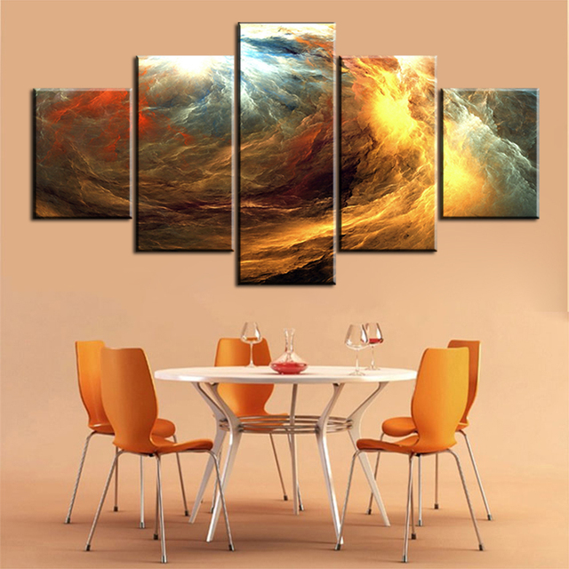 5 pc Set waves abstract cloud NO FRAME Oil Painting Canvas Prints ...