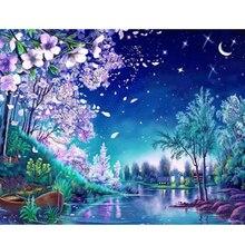 Картина цвет красивый 5d Вышивка крестом маленькая река персик ночной вид diy алмазная живопись коллекция