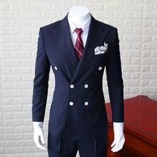 Новая мода Белый двубортный Костюмы 2 шт. Для мужчин S тонкий Повседневное костюм мужской темно-синий пиджак Костюмы Для мужчин блейзер для свадебные М-XXL
