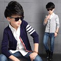 2017 spring children sweater cardigan boy clothing cotton v-neck striped sweater navy blue clothes 4-13 age boy clothes kids