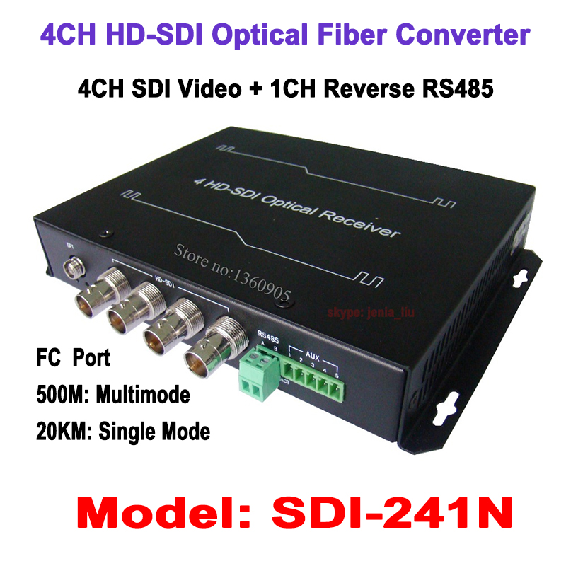 4CH HDSDI Video Data to Fiber Optical Media Adaptor Transmitter & Receiver - Video/RS485 data over single fiber 20KM Single mode new 1ch hdsdi multifunction optical media converter 1080p transceiver video ethernet rj45 rs485 data audio over single fiber