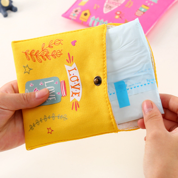 Girls Diaper Sanitary Napkin Storage Bag Canvas Sanitary Pads Package Bags Coin Purse Jewelry Organizer Credit Card Pouch Case 3 1