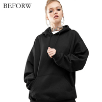 BEFORW 2017 Autumn And Winter Europe And The United States New Solid Color Hooded Clothing Bat