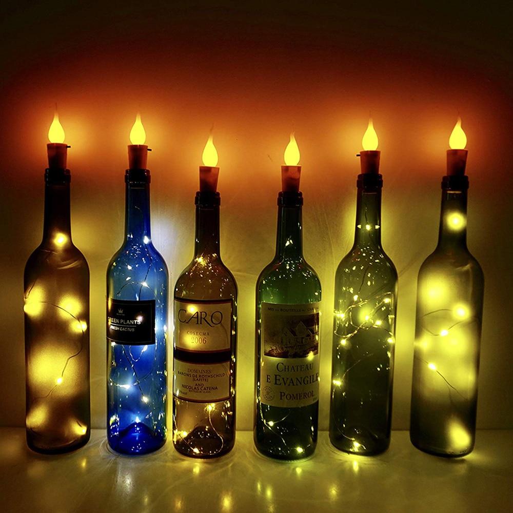 10/20 LED Wine Bottle Lights Flameless Candle Light DIY Christmas Wine Cork String Lights For Party Halloween Wedding Decoration