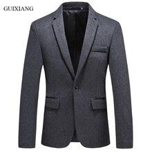2018 new GUIXIANG style men boutique blazers business casual single button slim solid suit blazers male plus size jacket suit