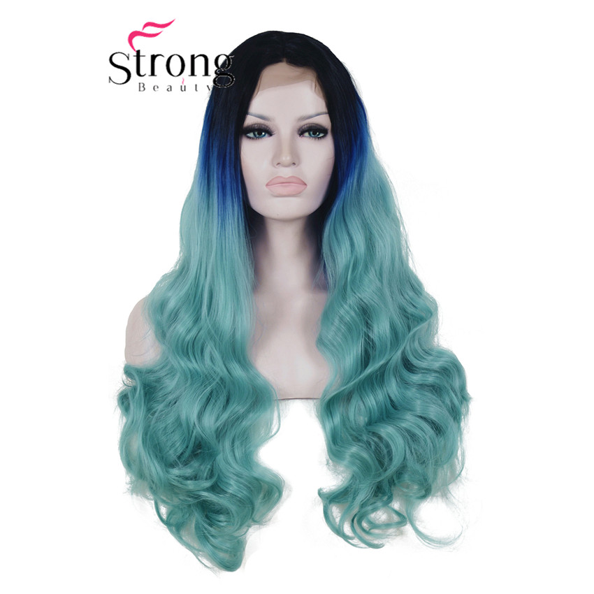 StrongBeauty Long Wavy Synthetic Lace Front Wigs Heat Resistant Dark Roots Black Blue Ombre Hair Wig COLOUR CHOICES