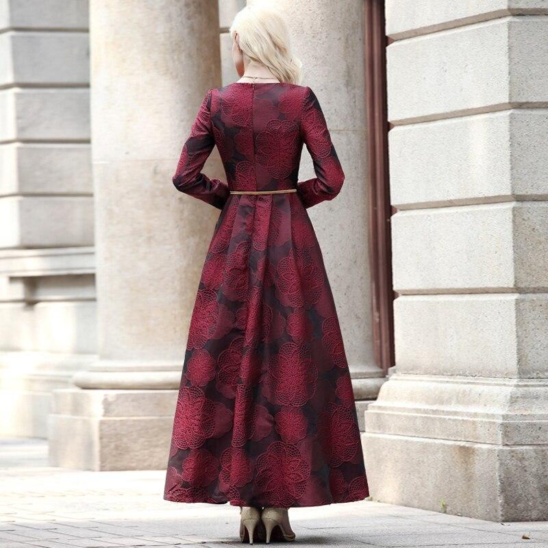ผู้หญิงแขนยาวยาว Maxi ชุดฤดูหนาวฤดูใบไม้ร่วง Elegant Burgundy ดอกไม้ Jacquard lady ฤดูใบไม้ร่วง Boho Vintage แฟชั่น Plus ขนาด-ใน ชุดเดรส จาก เสื้อผ้าสตรี บน   2