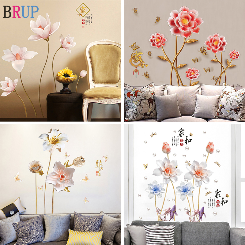 24 Kinds Large Flowers Wall Stickers Bedroom TV Sofa Romantic Flowers Home Decors DIY Mural Art Wall Decals Vinyl Wallpaper