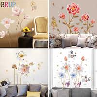 24 sortes grandes fleurs Stickers muraux chambre TV canapé fleurs romantiques décoration de la maison bricolage Mural Art Stickers muraux vinyle papier peint