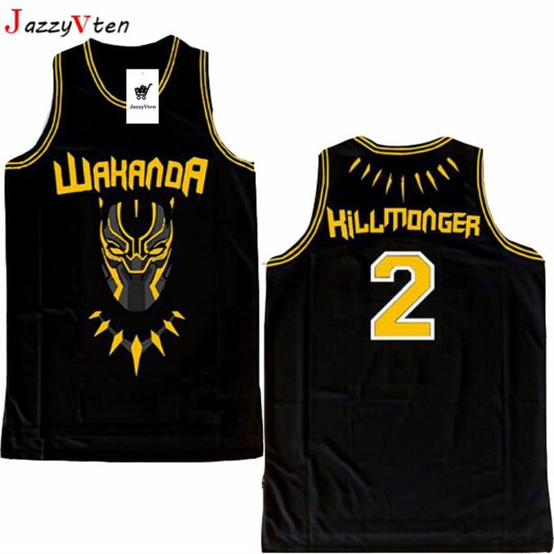 b05cc500966 2019 new design movie men embroidery basketball jerseys T'Challa hill  monger sport basketball hiphop