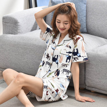 Ladies 100% Cotton Pajamas Sets 2PCS 2019 Lounge Sleepwear Bedgown for Women Short Leisure Wear Home Clothes