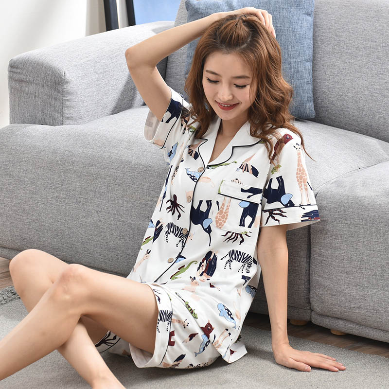 Ladies 100% Cotton   Pajamas     Sets   2PCS 2019 Lounge Sleepwear Bedgown for Women Short Cotton Leisure Wear   Pajamas   Home Clothes