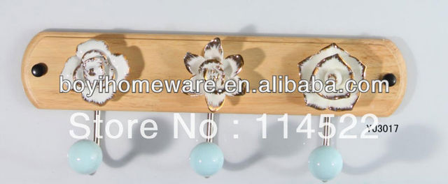 new design wood three hooks with colored ceramic flowers and knobs ball coat rack clothes hanger towel hook wholesale YJ3017