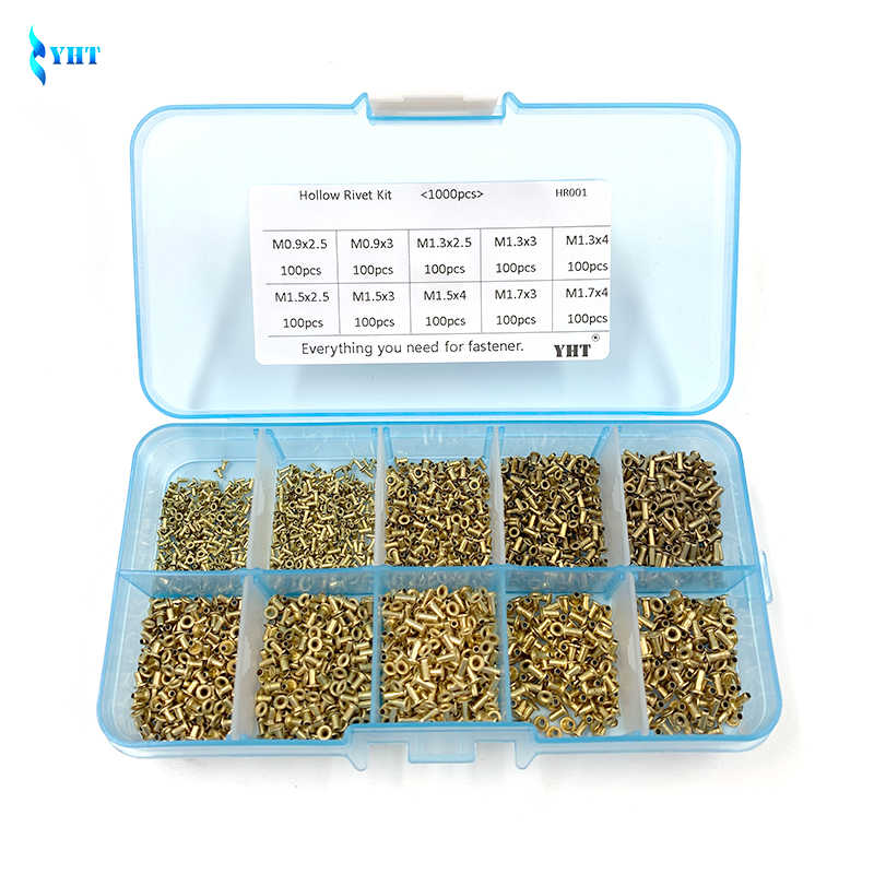 1000Pcs GB876 M0.9 M1.3 M1.5 M1.7 Mix Tubular Rivets Double-sided Circuit Board PCB Nails Copper Hollow Rivet Nuts Kit HR001