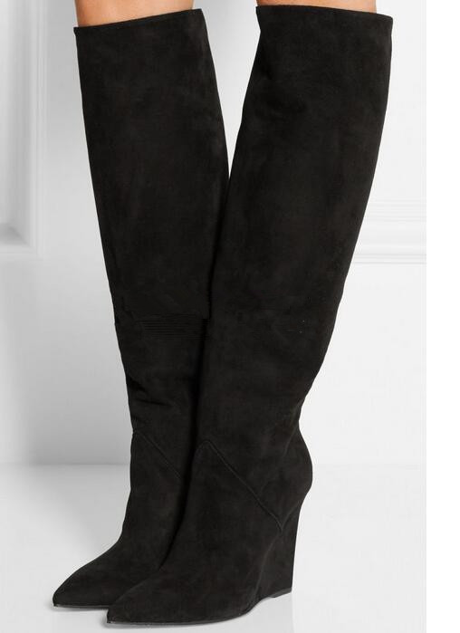Black/grey pointed toe wedge heels fall winter knee high boots height increasing shoes for woman