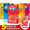 50 unids Condones para hombres 5 tipo ultra delgado partículas Hilos Látex natural pico condón adulto del sexo del producto tienda largo amor pequeño condón