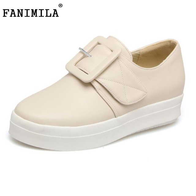FANIMILA Size 34-43 Lady Wedges Shoes Women Buckle Round Toe Solid Color Trifle Shoe Dating Office Lady Fashion Female Footwears