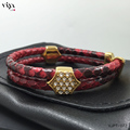 Men Luxury Brand Jewelry Leather Bracelets For Women Famous Watch Glossy Red Python Skin Leather Bracelet With Gold Color Clasp