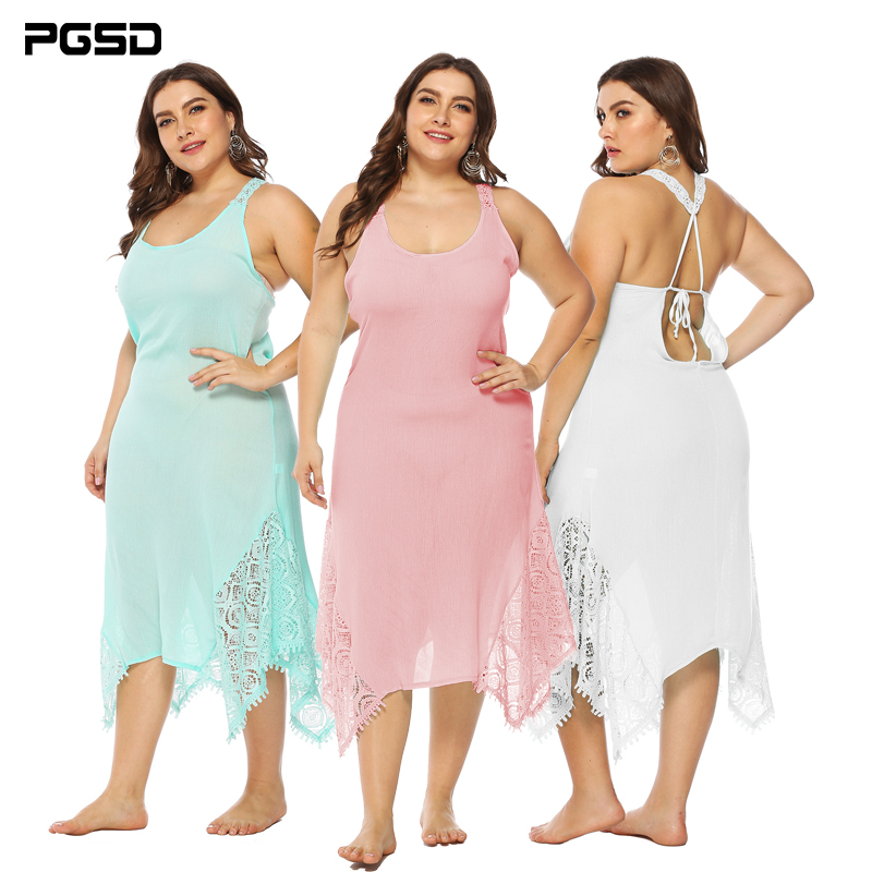 PGSD Spring summer Big size Solid Women clothes Medium length Sexy bandage Backless Lace O-Neck stitching Sling Dress female 5XL