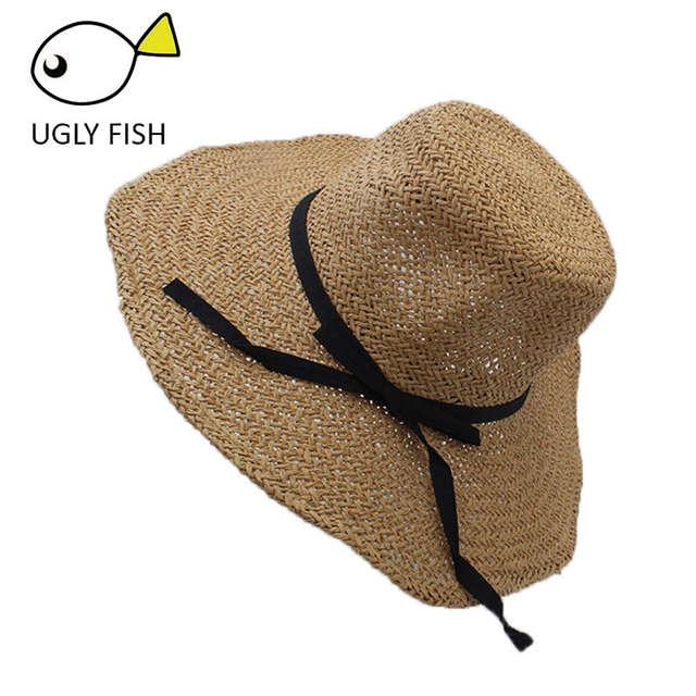c4dbce437e2d2 placeholder Sombrero de playa para mujer sombrero de paja de verano sombrero  de sol bownot