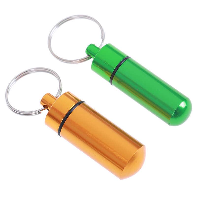 1 Uds. Caja de pastillas verde/amarillo botella llavero de contenedor caja de medicina cuidado de la salud resistente al agua caché de aluminio titular de las drogas