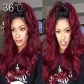 Сексуальная волнистые 1b / 99j парик бордовый ломбер фронта парик Glueless 150% человеческих волос бразильский девственные волосы для мода женщин