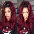 Sexy Wavy 1b/99j Full Lace Wig Burgundy Ombre Lace Front Wig Glueless 150% Human Hair Brazilian Virgin Hair For Fashion Women