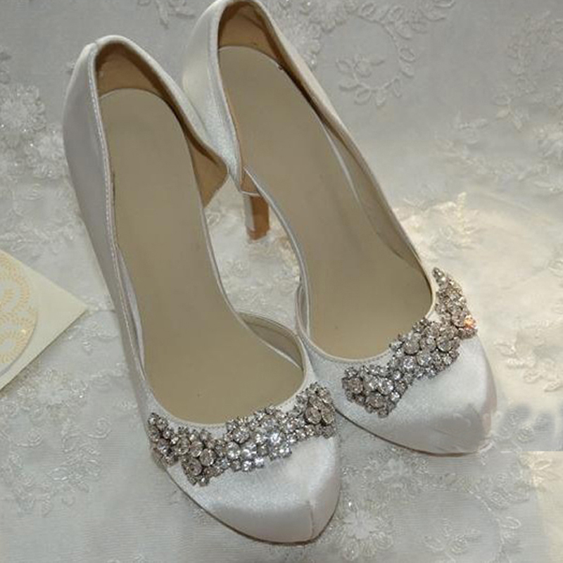 Round Toe White Color Satin Wedding Dress Shoes Custom Made Bridal Rhinestone Lady Prom Bridesmaid In Womens Pumps From On