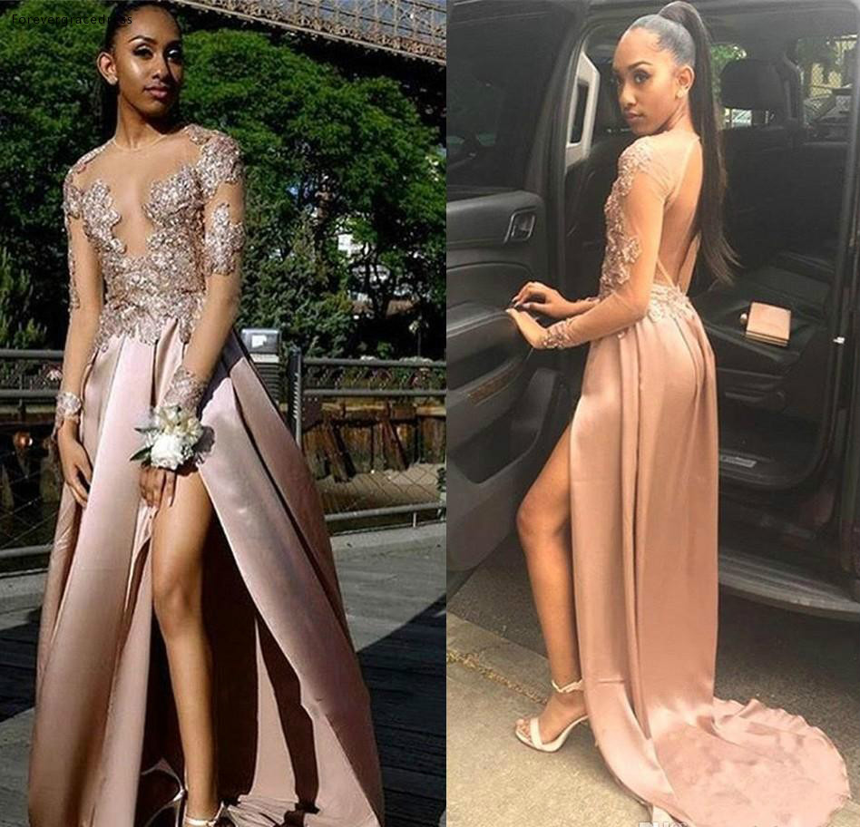 African Black Girls   Prom     Dress   Queen Sheer Long Sleeves Formal Pageant Holidays Wear Graduation Evening Party Gown Plus Size