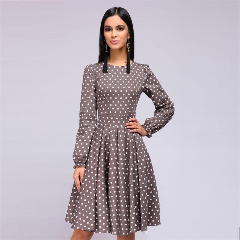 Dot impression brun Vintage a-ligne automne robe 2019 femmes mode élégant volants o-cou à manches longues Club partie Mini robes