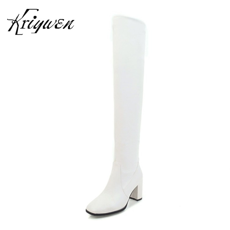 Kriywen 2018 Autumn&Winter Womens Boots Motorcycle Shoes Artificial Sexy Ladies Casual Boots High Heels Thigh Woman Long Shoes