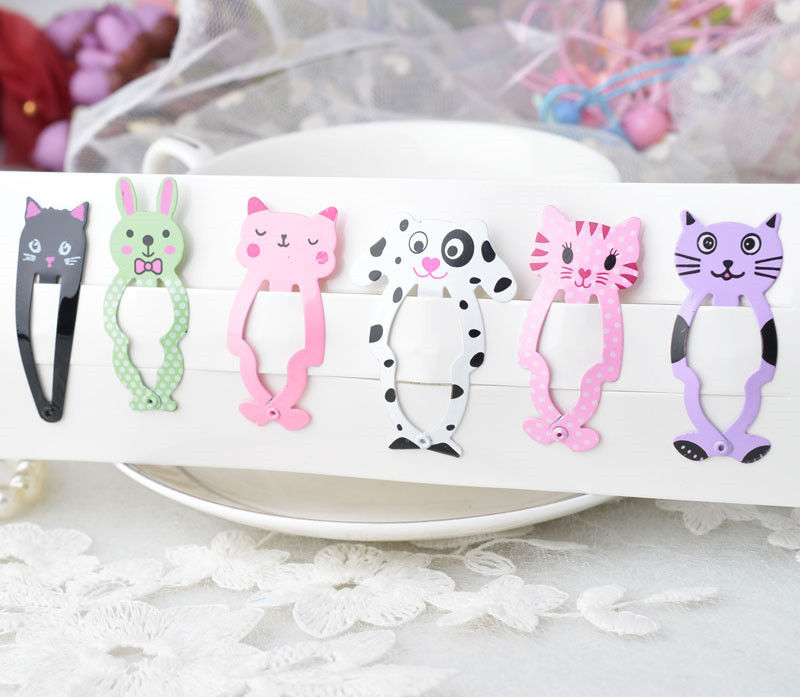 HTB1VzK4QXXXXXb2apXXq6xXFXXXD Cute 6-Pieces Dog Cat Bunny Hair Snap Clip Set For Women/Children