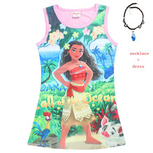 2018 New Baby girl clothes Princess dress Cartoon Moana Cosplay Costume for Children Vaiana Girls Party with Necklace Costumes цена
