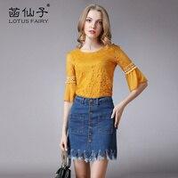 Lotus Fairy Free Shipping Women S Tassel Above Knee Pencil Denim Skirt Jeans Mini Skirt For